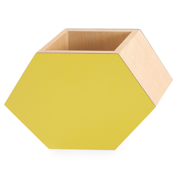 Yellow Shadow Hex Vase