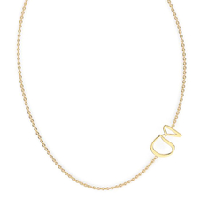 "Arabic Letter ""Haa"" Gold Initial Necklace"