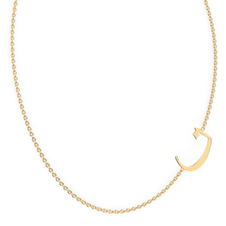 "Arabic Letter N ""Noon"" Gold Initial Necklace"