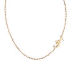 """Arabic Letter """"Tha"""" Gold Initial Necklace"""