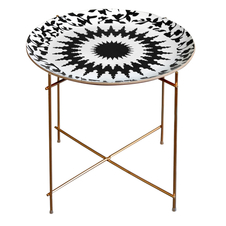 Images d'Orient Mosaic Round Tray and Stand, Black/White
