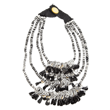 YIH Three Black & White Stacked Layers Necklace