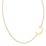"""Arabic Letter N """"Noon"""" Gold Initial Necklace"""