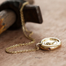 Yellow Gold Wax Seal Arabic Calligraphy Initial Pendant Necklace